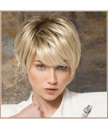 Ash Blonde Short Straight Hair with Long Bangs Pixie Style Cut Full Lace... - $59.95