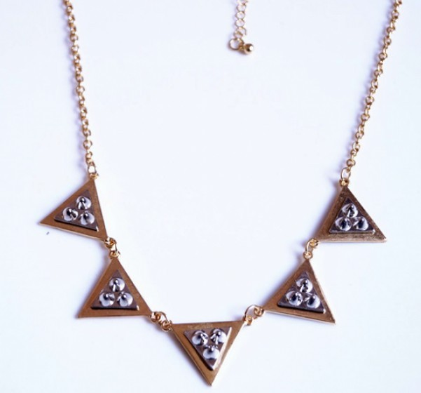 Primary image for Glitter Rivets Studding Triangle Cluster Alloy Necklace(Golden)