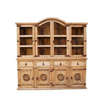 Rustic Large 2 PC China Cabinet With Star Weste... - $1,106.12