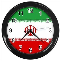Iran Wall Clock (Black) - Iranian Flag - £12.52 GBP