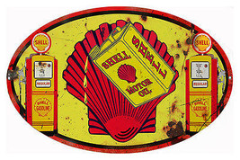 Reproduction Licensed Shell Motor Oil Metal  Sign Aged 11″x18″ Oval - $29.70