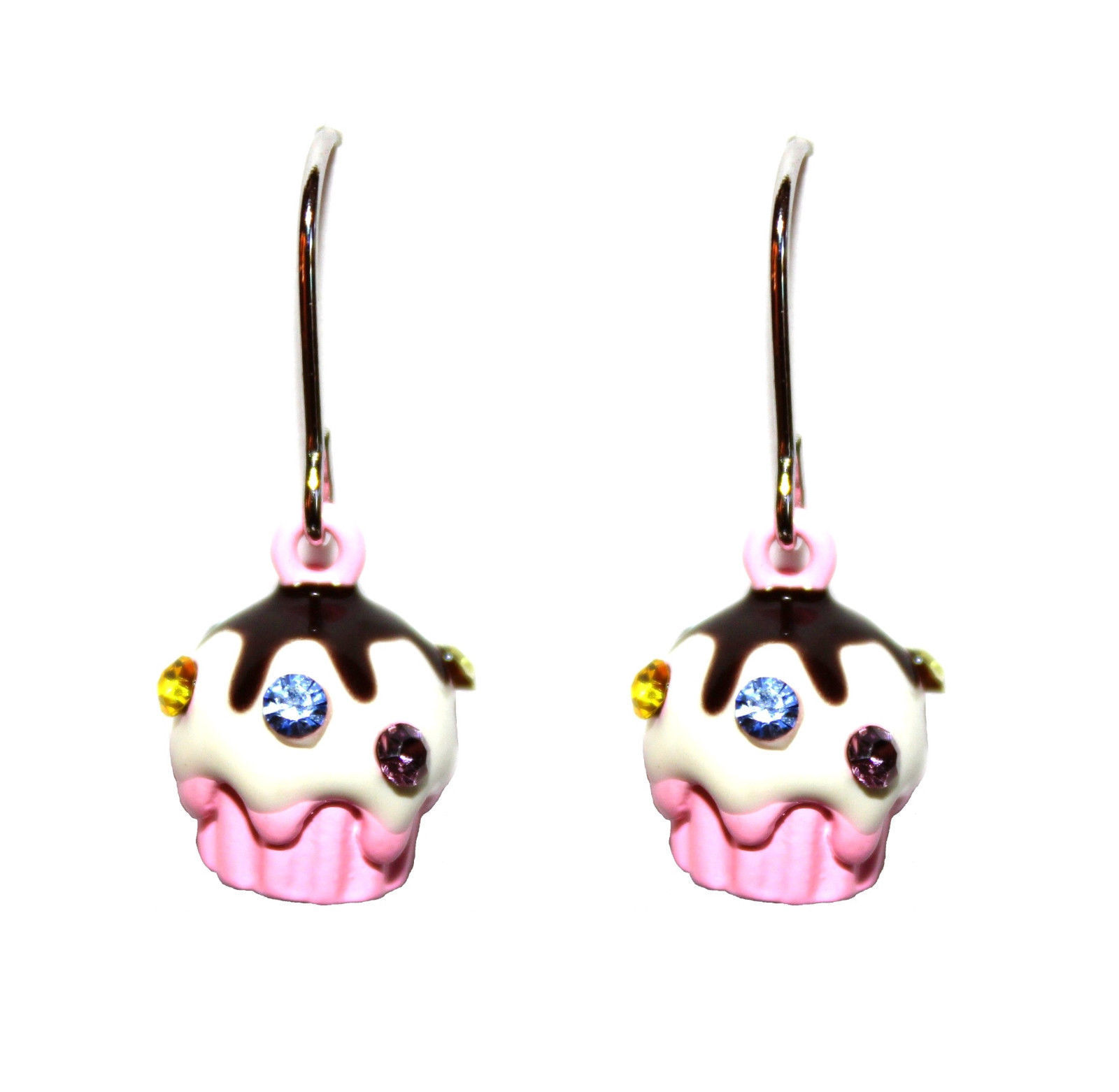 Primary image for Chocolate Girls Cute Swarovski Crystal Sprinkle Topping Pink Cup Cake Earrings