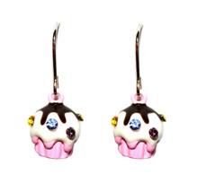 Chocolate Girls Cute Swarovski Crystal Sprinkle Topping Pink Cup Cake Earrings - $9.97