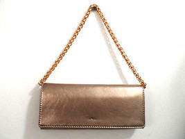Hype Clutch Genuine Leather Gold Metallic Gold Shoulder Chain Strap Grea... - $32.54