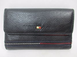 Tommy Hilfiger Black Faux Leather Red Lining Tr... - $25.73