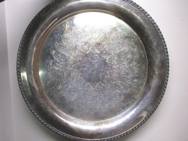 """Large Silverplate Serving Platter Oneida 15"""" Tray Odd Tarnish Etched Victorian - $45.56"""