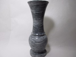 Marble Vase Fluted Gray White Flower Urn Spun D... - $84.15