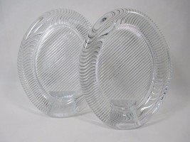 2 Vintage Heavy Solid Glass Oval Picture Frames Mikasa Japan Ribbed Wave... - $26.09
