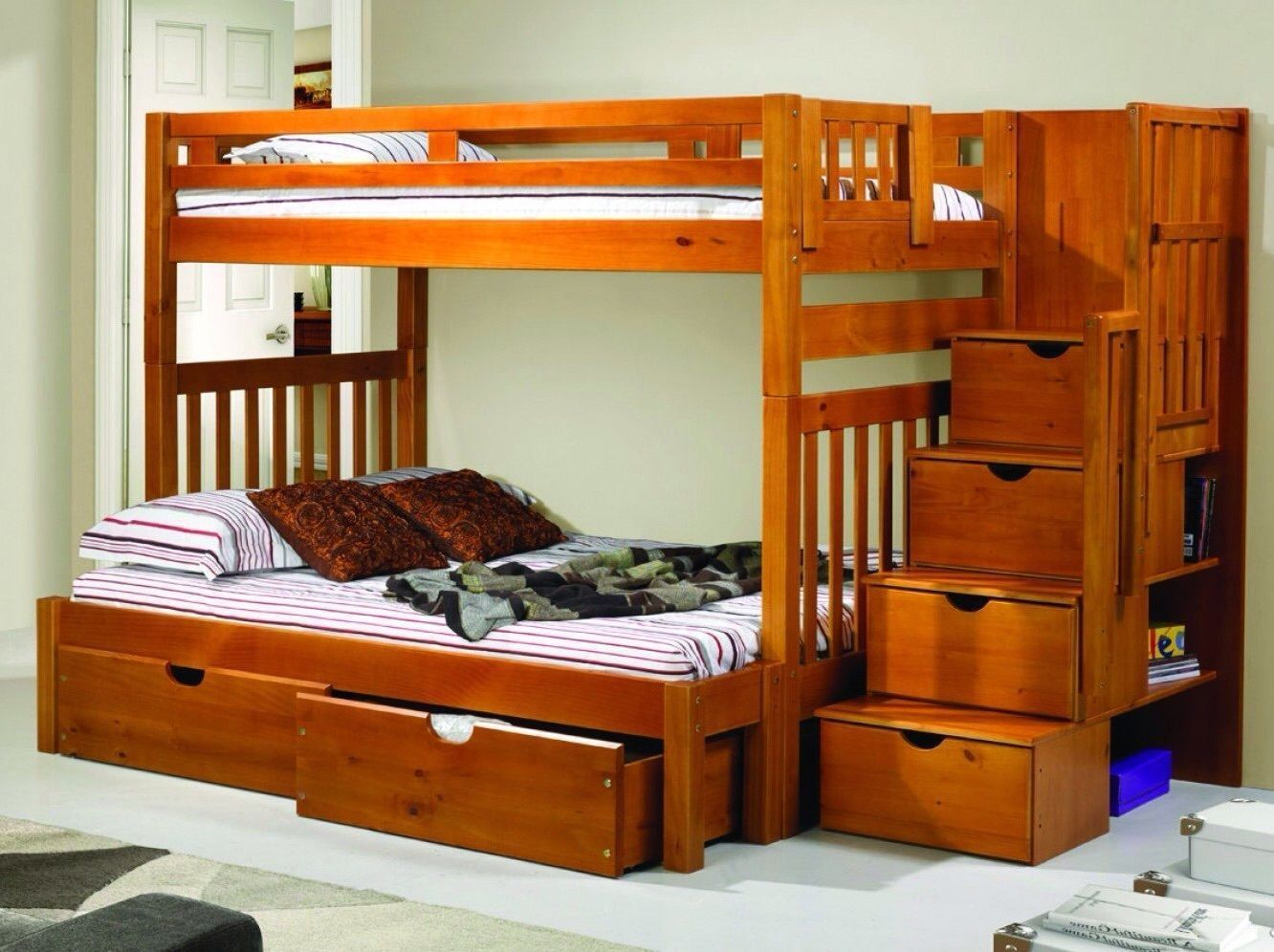 Classic medium wood twin twin twin full bunk bed stairs for Bunk beds with stairs uk