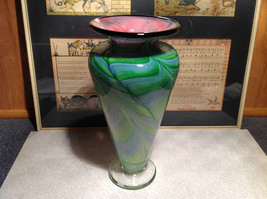 Handmade USA Blown Glass Swirl Vase Green Pink Semi Translucent 10 Inch Tall