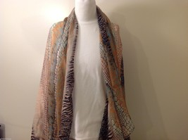 Multi Colored, Zebra stripe Mosaic Patterned Scarf, New!