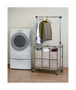 Heavy Duty Steel Rolling Portable Laundry Sorter Bags Garment Hanger Rack - £61.08 GBP