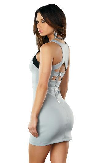 Forplay Clubwear Dafni Grey Color Blocked Mini Dress