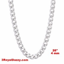 14k White gold Layer on Solid 925 Sterling Silver Miami Cuban Chain- 4 m... - $121.51