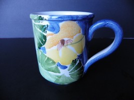 MARKED DOWN !!  HAND PAINTED CERAMIC COFFEE CUP -  MADE IN ITALY FLORAL ... - $6.86
