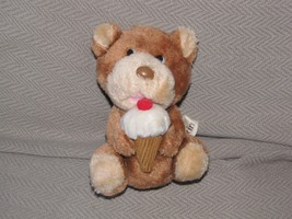 "6"" Baskin Vintage Russ Berrie #387 Bear With Ice Cream Cone Plush Stuffe... - $14.25"