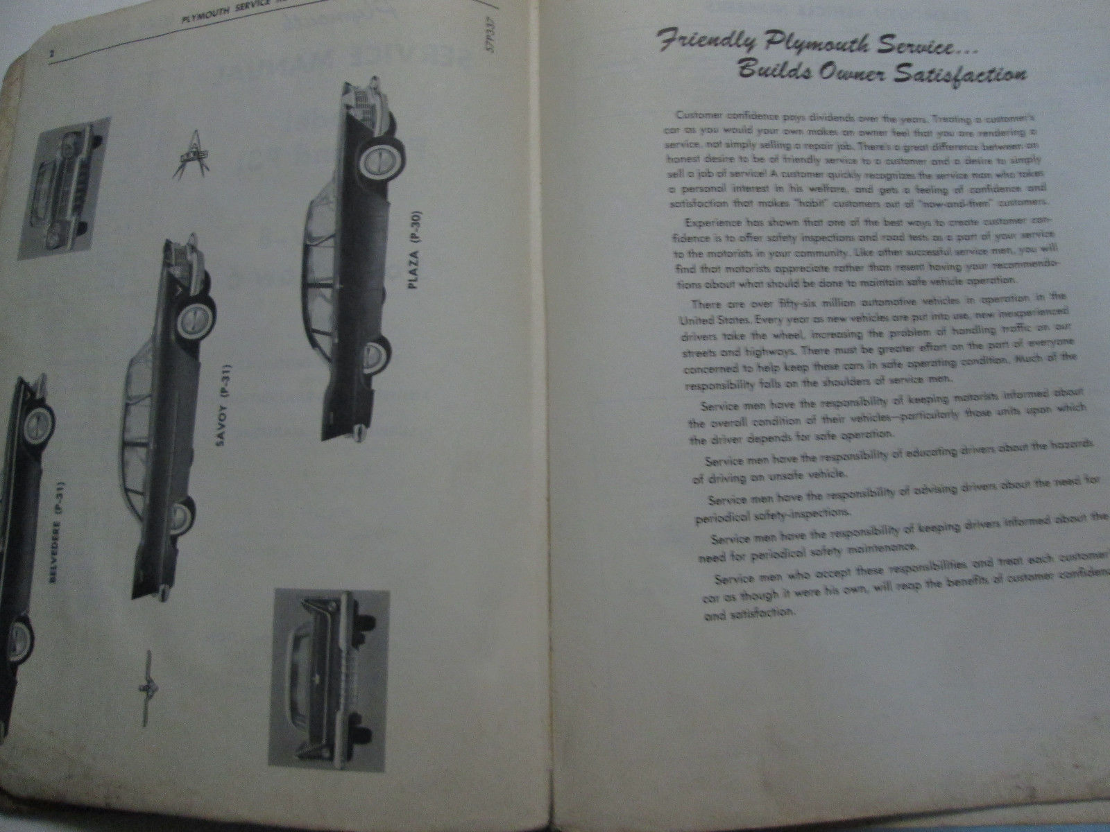 1957 Plymouth Plaza Savoy Belvedere Service Shop Repair Manual OEM DAMAGED