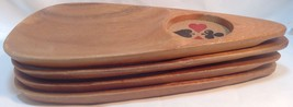 Set of 4 WOODEN Card Player Chips & Drink TRAYS~4 PLATEAUX a Croustilles... - £26.50 GBP
