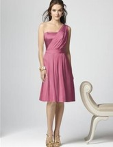 Dessy 2862....Cocktail length, One shoulder, Chiffon .....Pretty in Pink... - $44.54