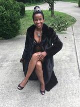 Designer Flemington Sable Black hue Full length Mink Fur Coat Jacket S 0-4 - $699.99