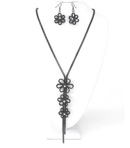Womens Black Floral Flower Bolero Clear Crystal Long Weave Chain Necklace Set