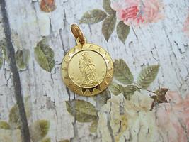 Vintage Catholic Medal Our Lady of Mount Carmel Virgin Mary 14mm Gold finish - $12.19