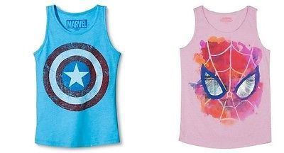 194705be09caac Marvel Girls Spider-Man or Captain America Shield Tank Tops Various Sizes  NWT