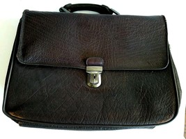 "Kenneth Cole Pebble Leather Briefcase Messenger Laptop Bag Brown 10"" x 1... - $32.67"