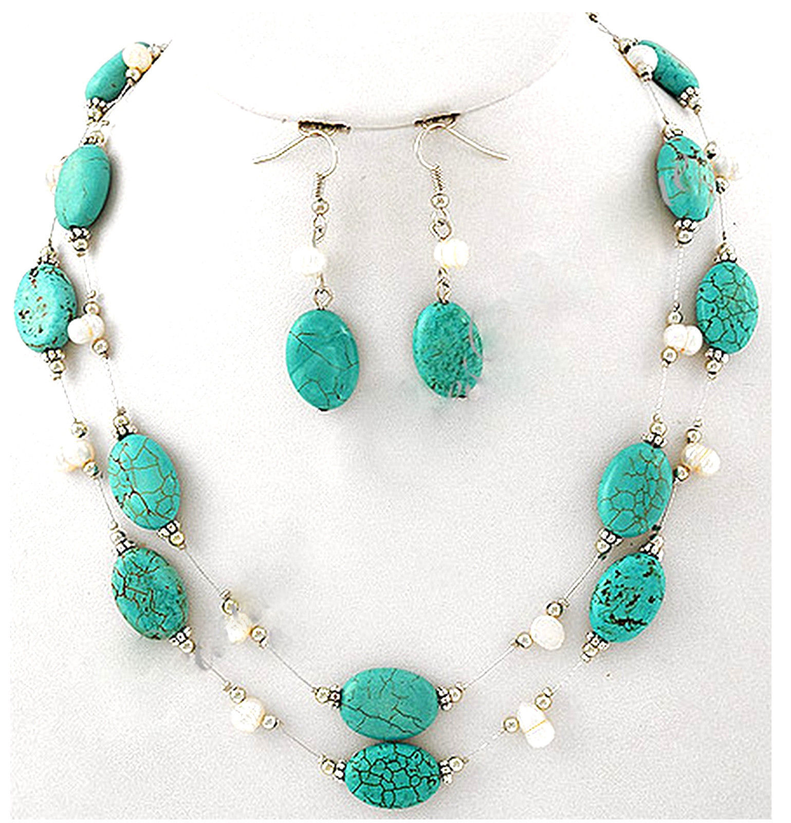 Womens Fresh Water Pearl Turquoise Stone Silver Strands Oval Beaded Necklace Set - $9.97