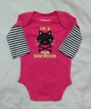 NEW NWT Girls Newborn Bodysuit Creeper Halloween Black Glitter Scaredy Cat - $3.99