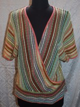 Coldwater Creek Crossover Sweater Sz M Multi Color Loose Weave Soft - $19.61