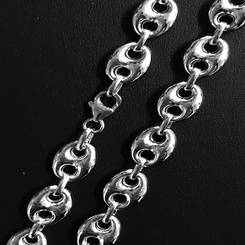 Sterling Silver & Rhodium 9.4mm Hollow Puffed Marina Mariner Link Chain Necklace