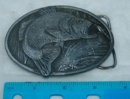 Fishing Belt Buckle Metal Vtg Fish Bass Large Mouth Bergamot Brass Works... - $17.42