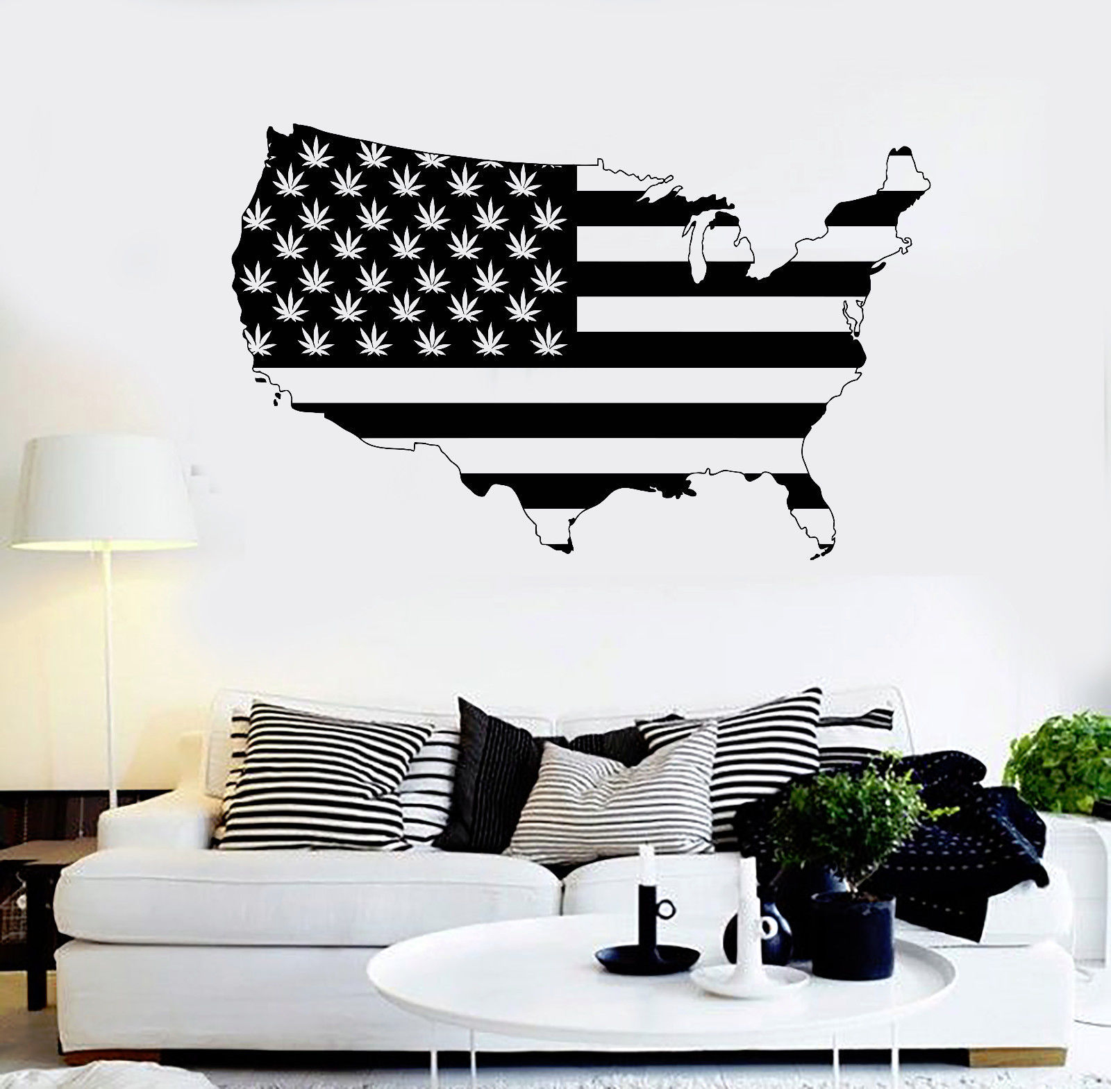 Vinyl Wall Decal United States Map Marijuana Smoking Weed