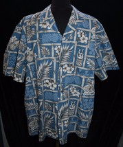 Royal Creations Hawaiian Shirt Sz XL Hawaii Blue Tiki Hibiscus Guitar Tu... - $28.68