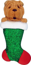 Dog in Stocking Shar Pei Personalized Christmas Tree Ornament - $14.95