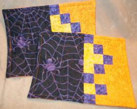 Mug Rugs Halloween Purple Spiders, Yellow, Purp... - $12.00