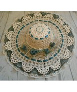 Ivory Lace Blue Roses Wide Brim Lace Trim Stiffened Lace Dolls Hat 14 In... - $9.52