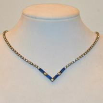 vintage blue crystal glass baguette square rhinestone V Vee necklace - $14.84