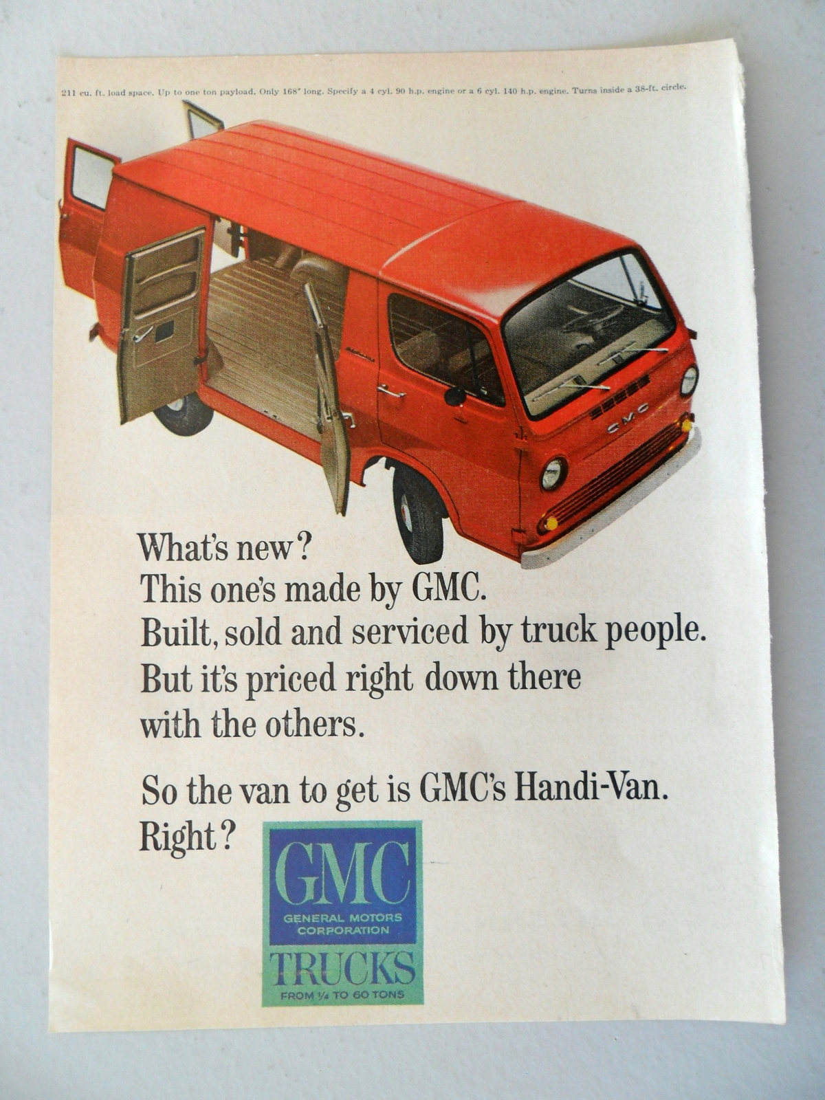 GMC Trucks Red Handi-Van General Motors Print Ad 1964 - $6.00
