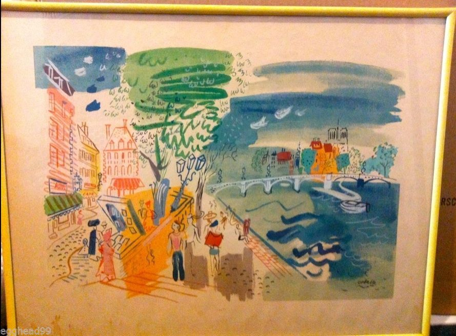 Primary image for CHARLES COBELLE original LITHOGRAPH PRINT Hockney Normandy France NORMANDE CAFE!