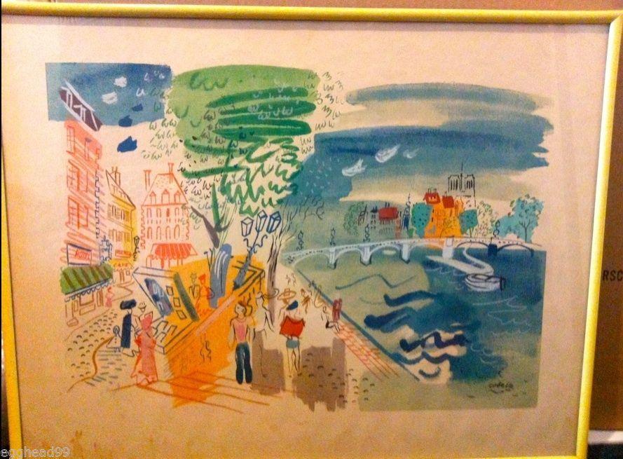 CHARLES COBELLE original LITHOGRAPH PRINT Hockney Normandy France NORMANDE CAFE! - $1,799.99