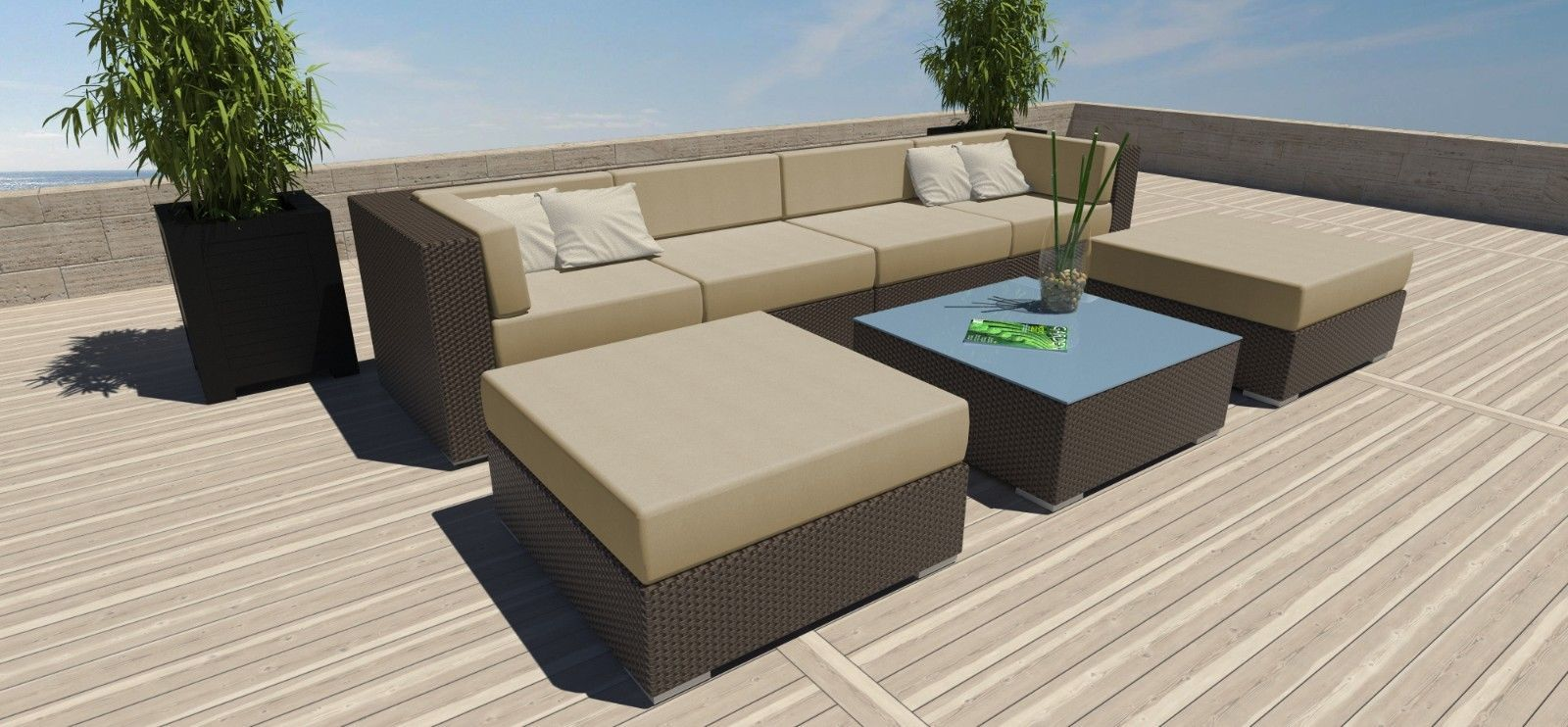 7 PC Modern Outdoor All Weather Wicker Rattan Patio Set
