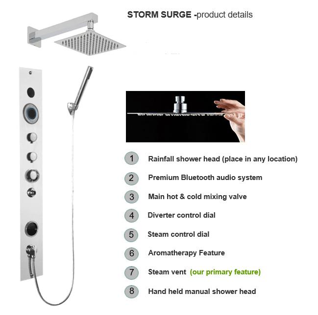 Serene Steam Shower Storm Surge model Brushed Satin