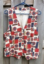 Talbots Holiday Red White Blue Yachting Patriotic Nautical Vest Size Large - $19.80