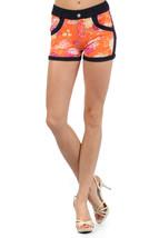 Women Rose Blooms with Rhinestonestone Pocket Embellishments Jegging Shorts - $15.99