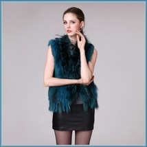 Blue Dyed Genuine Real Rabbit Fur Knitted Vest Fun Fashion Furs Wear w/Anything image 3