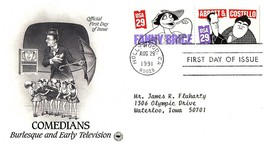 August 29, 1991 First Day of Issue, Postal Society Cover Comedians Telev... - $0.99