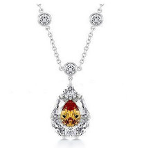 Womens Clear Topaz Cubic Zirconia Dangle Dressy Party Drop Post Style Necklace - $9.97