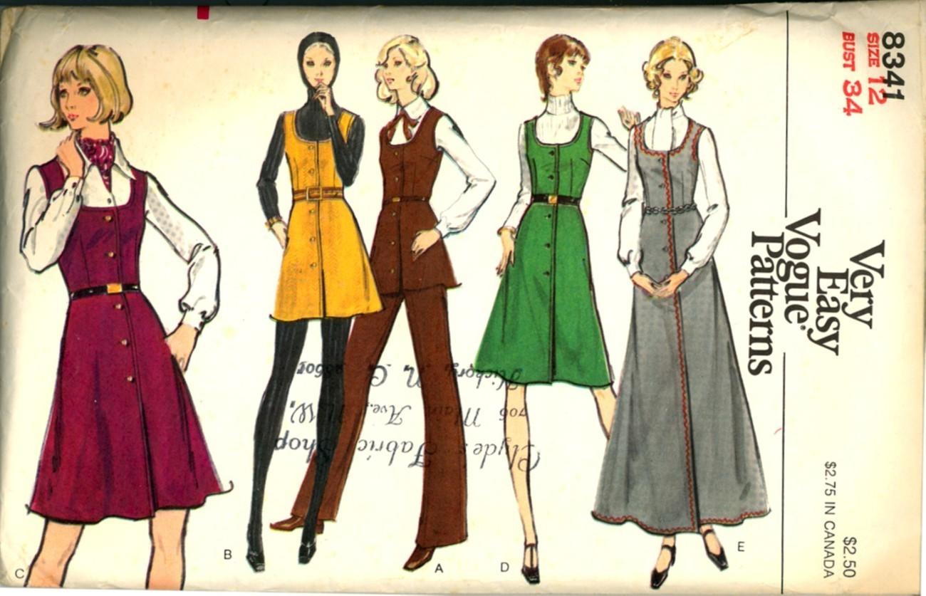 Vintage 70s Vogue Jumper Tunic Pants Size 12